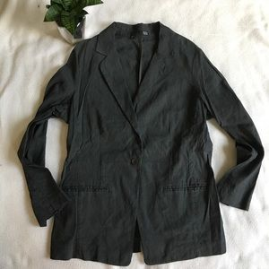 Eileen Fisher dark gray linen blend blazer